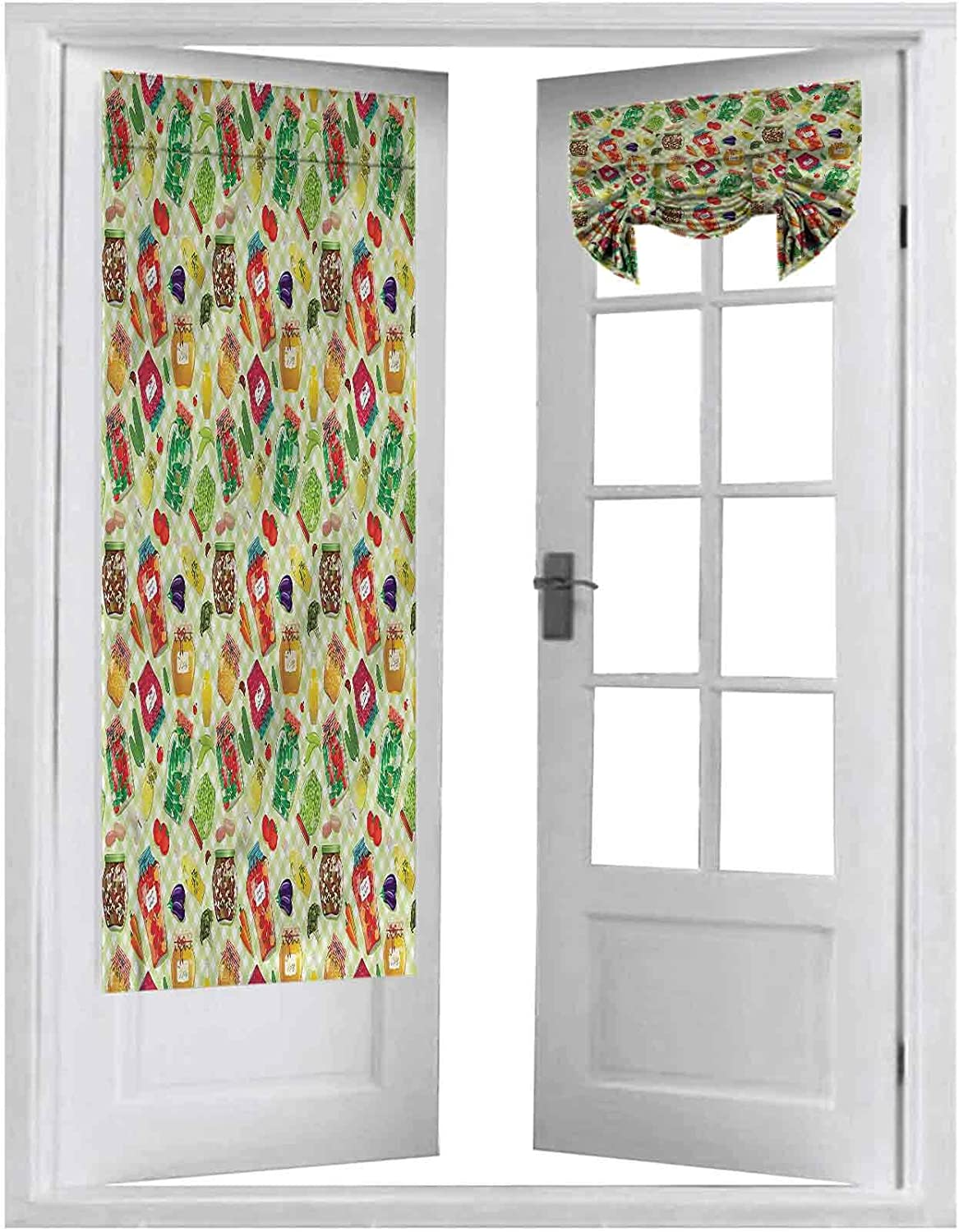 Blackout French Door Window Curtains, Kitchen,Foods Glass Jars on Table, 2 Panels-26