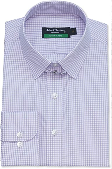 WhitePilotShirts Hombre Tab Cuello Lila Cuadros Camisa 100% Algodón Bucle Cuello Manga Larga Individual Puño Hombre 400-04: Amazon.es: Ropa y accesorios