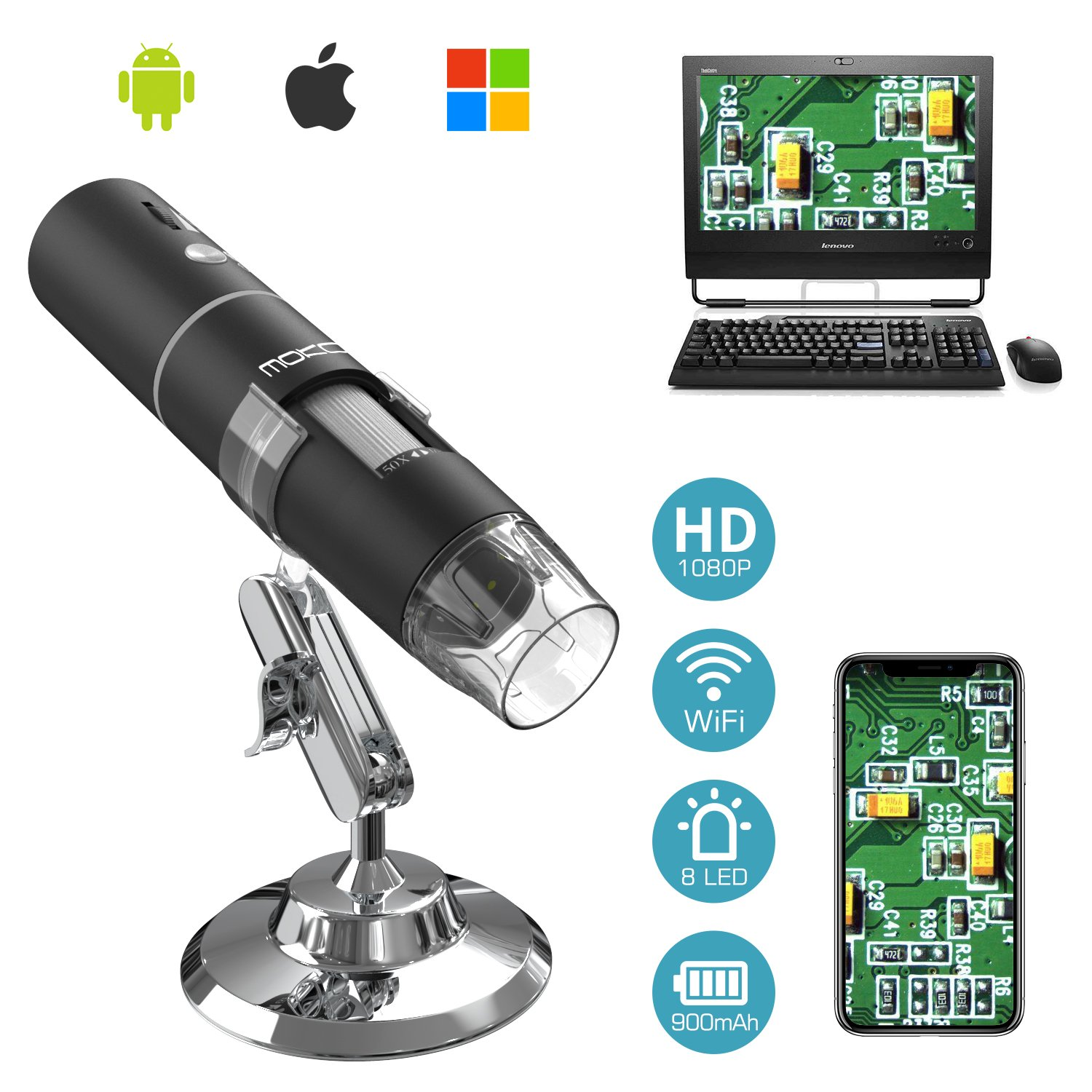 MoKo WiFi USB Digital Microscope, 1080P HD 2MP Camera, 50x to 1000x Magnification Mini Pocket Handheld Wireless Endoscope 8 LED, Metal Stand Compatible with iPhone/iPad/Mac/Window/Android/iOS - Black by MoKo