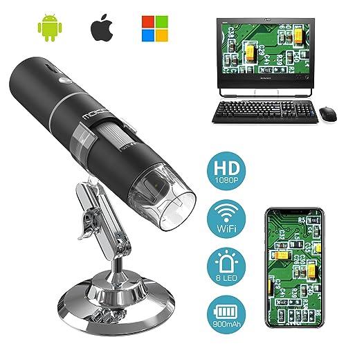 MoKo WiFi Digital Microscopio, 1080P HD 2MP Cámara, Aumento de 50x a 1000x Mini Portatil Endoscopio Inalámbrico con 8 LED, Soporte Metálico para iPhone/iPad/Mac/Window/Android/iOS, Negro