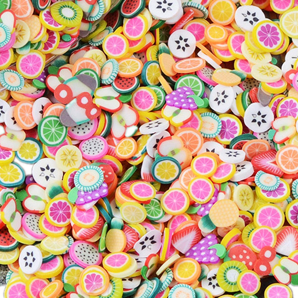 Fake Sprinkles Clay Slices for Nail Art and Slime Fruit Sprinkles BANANAS Polymer Clay Slices