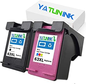 YATUNINK Remanufactured Ink Cartridge Replacement for HP 63XL Black Ink Cartridge & 63XL Color Ink Cartridge for HP Envy 4520 Officejet 1110 Officejet 3830 Deskjet 3630 Deskjet 3632 Printer (2 Pack)