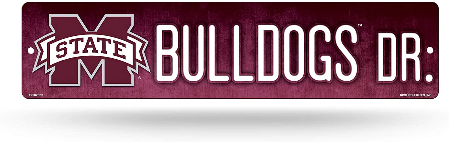 NCAA Rico Industries 16-Inch Plastic Street Sign Décor, Mississippi State Bulldogs