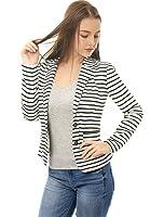 Allegra K Women's Notched Lapel Button Closure Striped Blazer