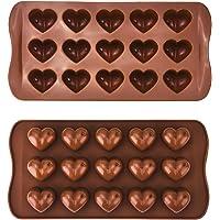 Stampi in Silicone a Forma di Cuore per Cioccolato Torta Gelatina Cubetti di Ghiaccio, 2 Pezzi