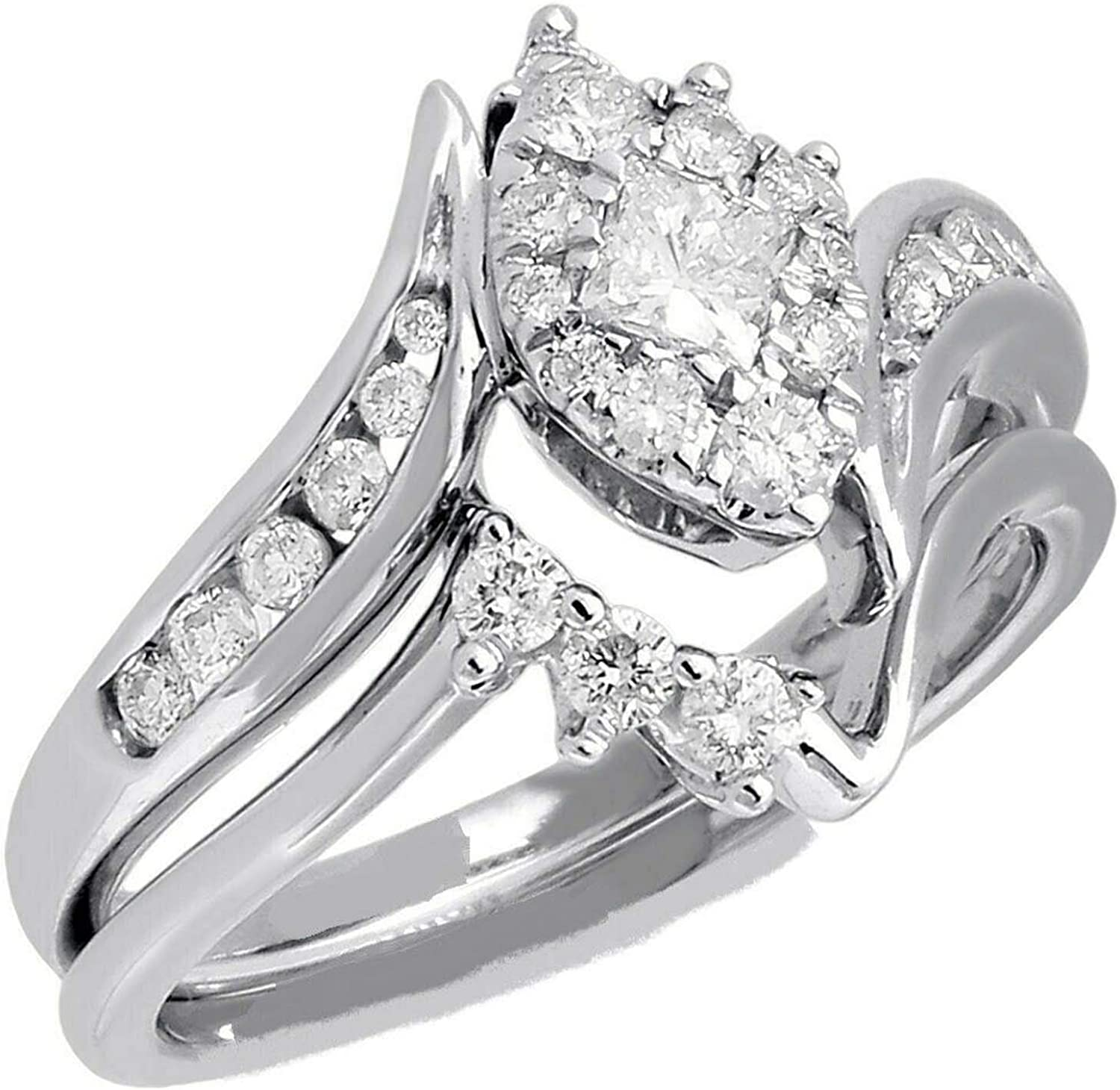 10k Yellow Gold Filled Round Cut Simulated Diamond Bridal Engagement Wedding Ring Set Solid 925 Silver