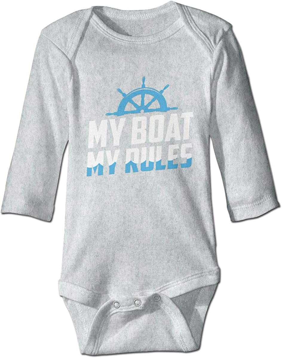 Marsherun Infant Babys Girls and Boys My Boat My Rules Long-Sleeve Bodysuit Playsuits