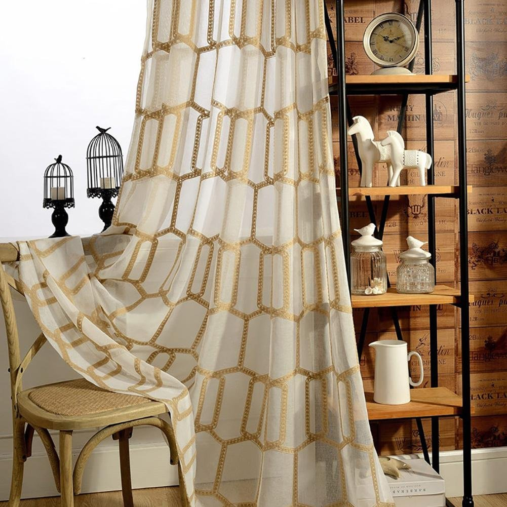 TINE HOME CURTAINS Curtains & Drapes Sheer Curtains Honeycomb shape Polyester For Window Treatments Finished product Living Room Grommet top One Panel, light coffee, 1pc(150*270 cm) wexe.com