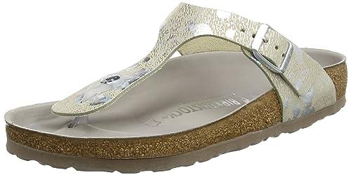 01e9ad1c281a Birkenstock Gizeh Lux Leather Spotted Metallic Silver  Amazon.ca ...