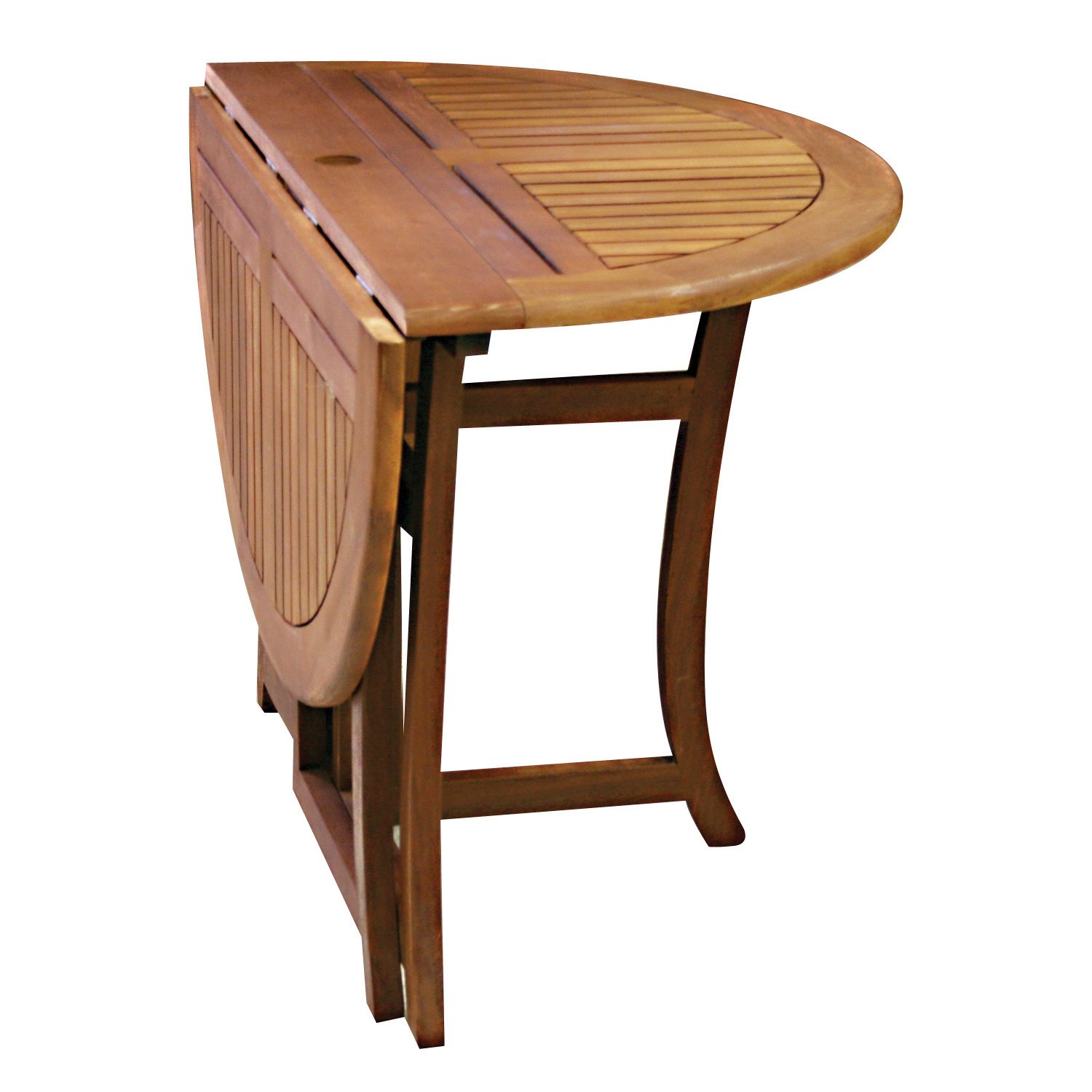 Amazon.com: Eucalyptus 43 Inch Round Folding Deck Table: Patio, Lawn U0026  Garden