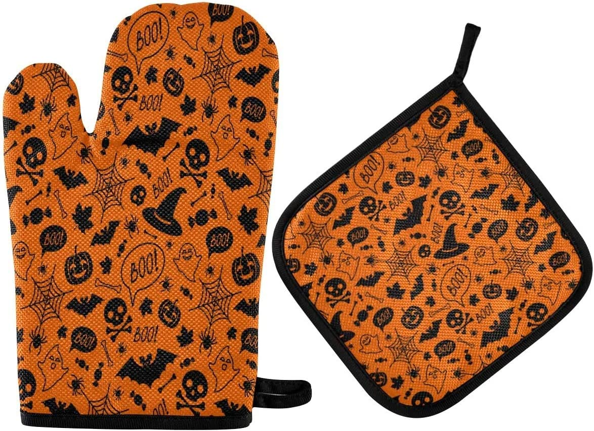 Halloween Black and Orange Festive Oven Mitts and Pot Holders Sets 2pcs Kitchen Heat Resistant with Polyester Non-Slip BBQ Gloves for Kitchen,Cooking,Baking,Grilling