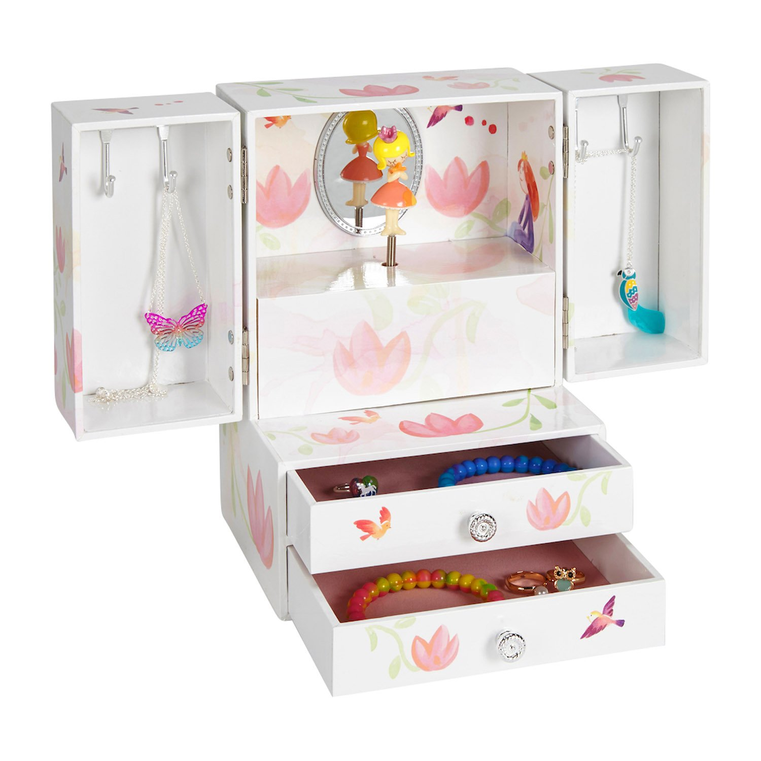 JewelKeeper Princess Musical Jewelry Armoire with 2 Pullout Drawers, White and Pink Flower Design, Waltz of the Flowers Tune