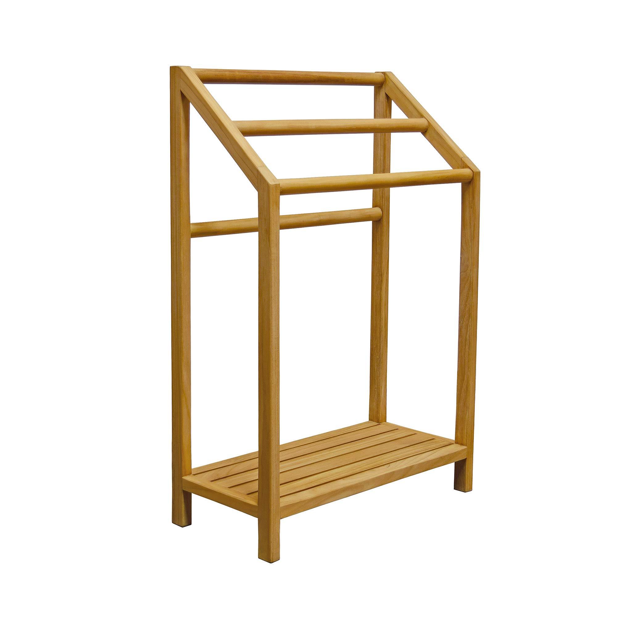 Asta Spa Teak Freestanding Towel Rack, 3-Bar with Shelf