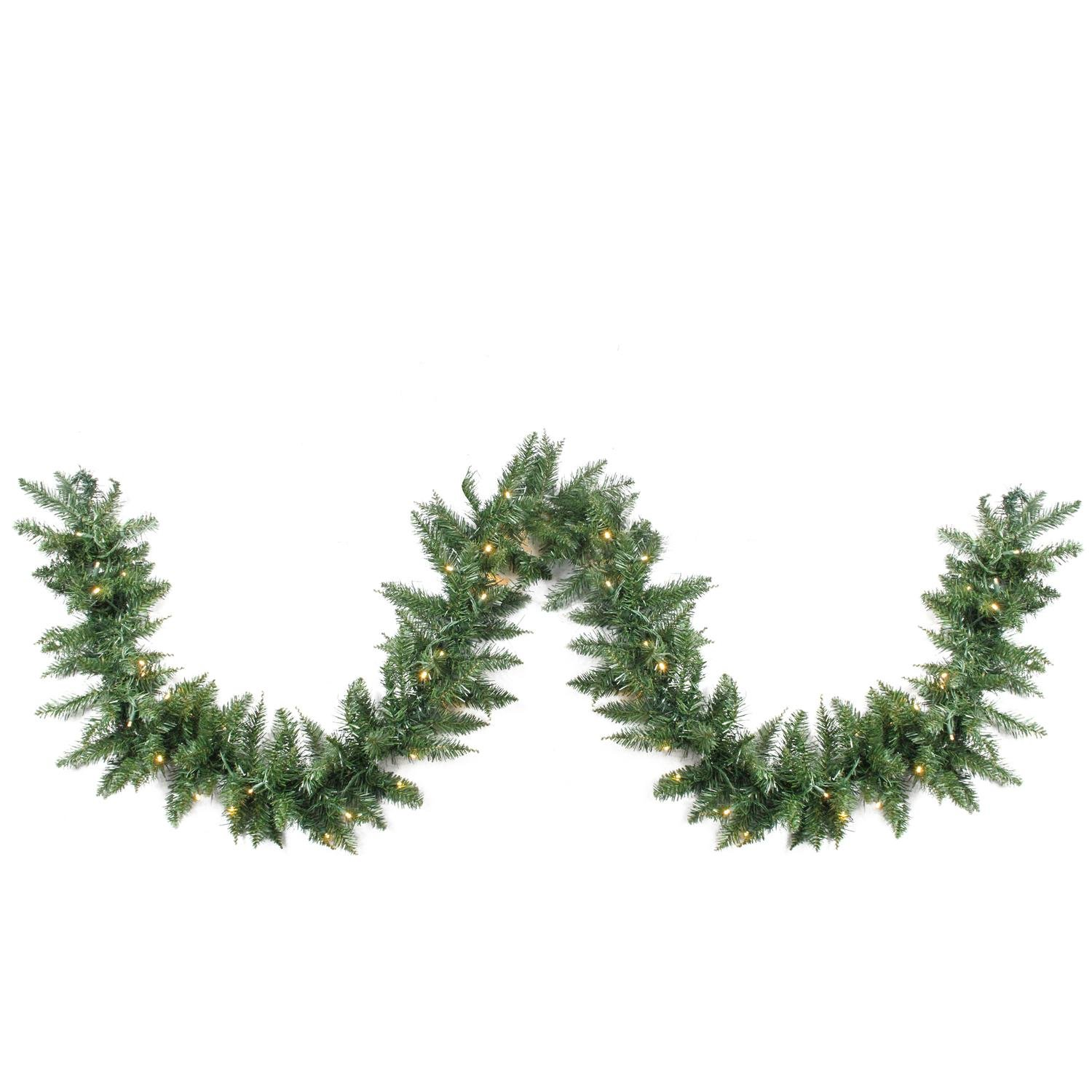 Northlight 50' x 12'' Pre-Lit Buffalo Fir Commercial Artficial Christmas Warm White LED Lights Garland, Green