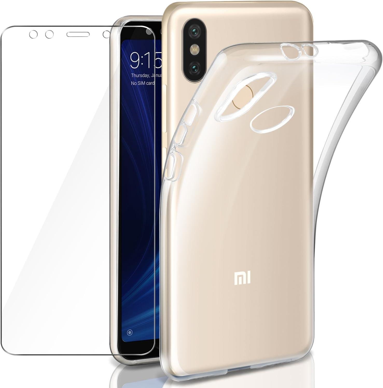 Leathlux Funda + Cristal para Xiaomi Mi A2, Transparente TPU Silicona [Funda+Vidrio Templado] Protector de Pantalla 9H Dureza HD Flexible Case Cover para Xiaomi Mi A2 / Xiaomi Mi 6X - 5.99