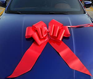 """Yeeper 23"""" Red Car Bow Giant with 56"""" Ribbon Strings for Wedding, Party Decor, Birthday, Graduation, Christmas Gifts & Special Presents"""