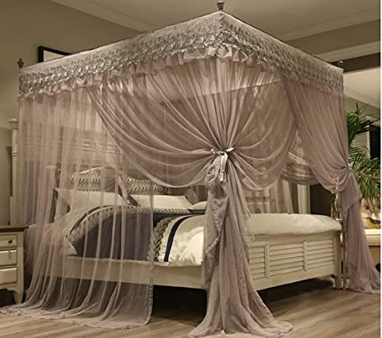 Mengersi Princess 4 Corners Post Bed Canopy Bed Curtains Netting (Queen,  Gray)