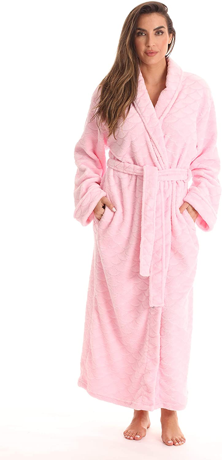 Just Love Velour Kimono Robe Hooded Bath Robes for Women Maxi Length