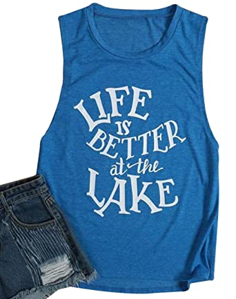 ba391221a44c DUTUT Womens Life is Better at The Lake Printed Tank Top Summer Casual  Sleeveless Tops Size