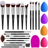 BESTOPE Pro Makeup Brushes 18PCs Makeup Brushes Set with 4PCs Makeup Sponge and 1 Brush Cleaner Premium Synthetic Foundation
