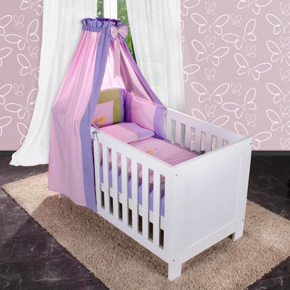 6-tlg. Babybettset Spring in Rosa inkl. Lätzchen