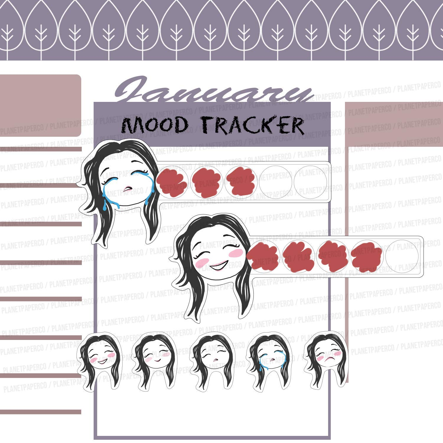 32 Pcs Planner Stickers Self help Stability Anxiety Happy Sad Bleh Days Mood Tracker Planner Girls 7 Different Hair Colors