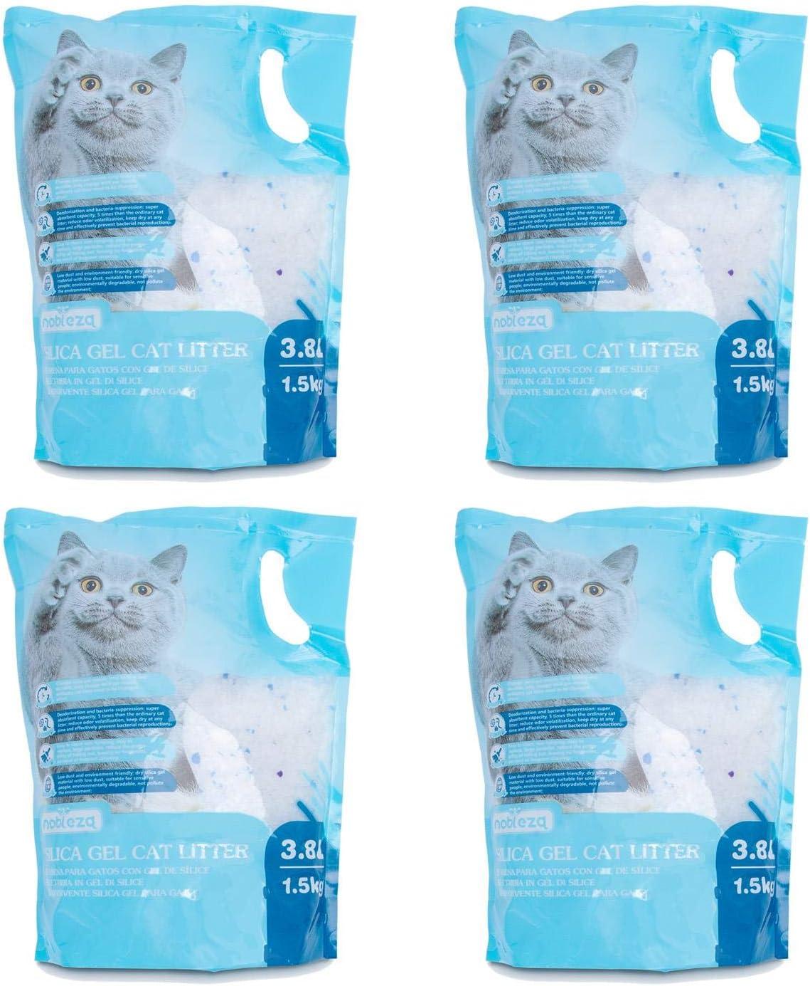 Nobleza - 4 x 3.8L Arena para Gatos de sílice Camada para Gatitos de Gel de Diamante Absorbente, Cómodo Biodegradable