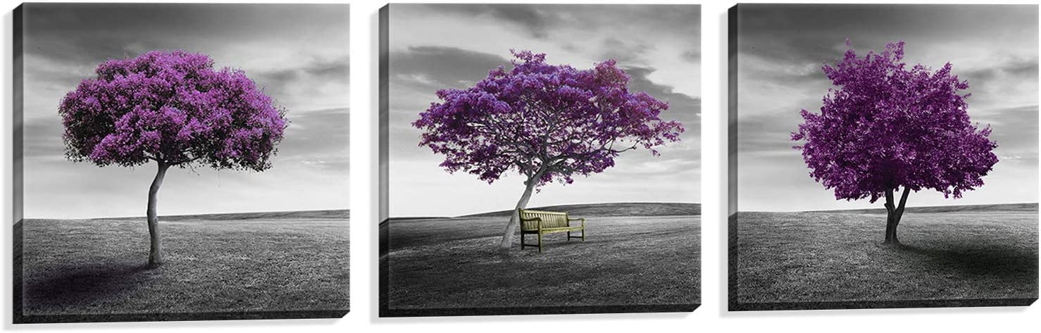 Nuolan Art Canvas Print 3 Panels Purple Trees Modern Landscape Framed Canvas Wall Art Uk P3l3030 003 By Nuolan Art Amazon Ca Home Kitchen