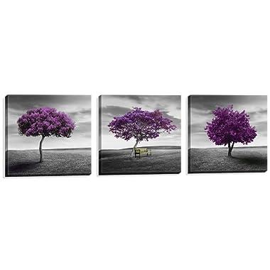 Nuolan Art - Canvas Print 3 Panels PURPLE TREES Modern Landscape Framed Canvas Wall Art -P3L3030-003