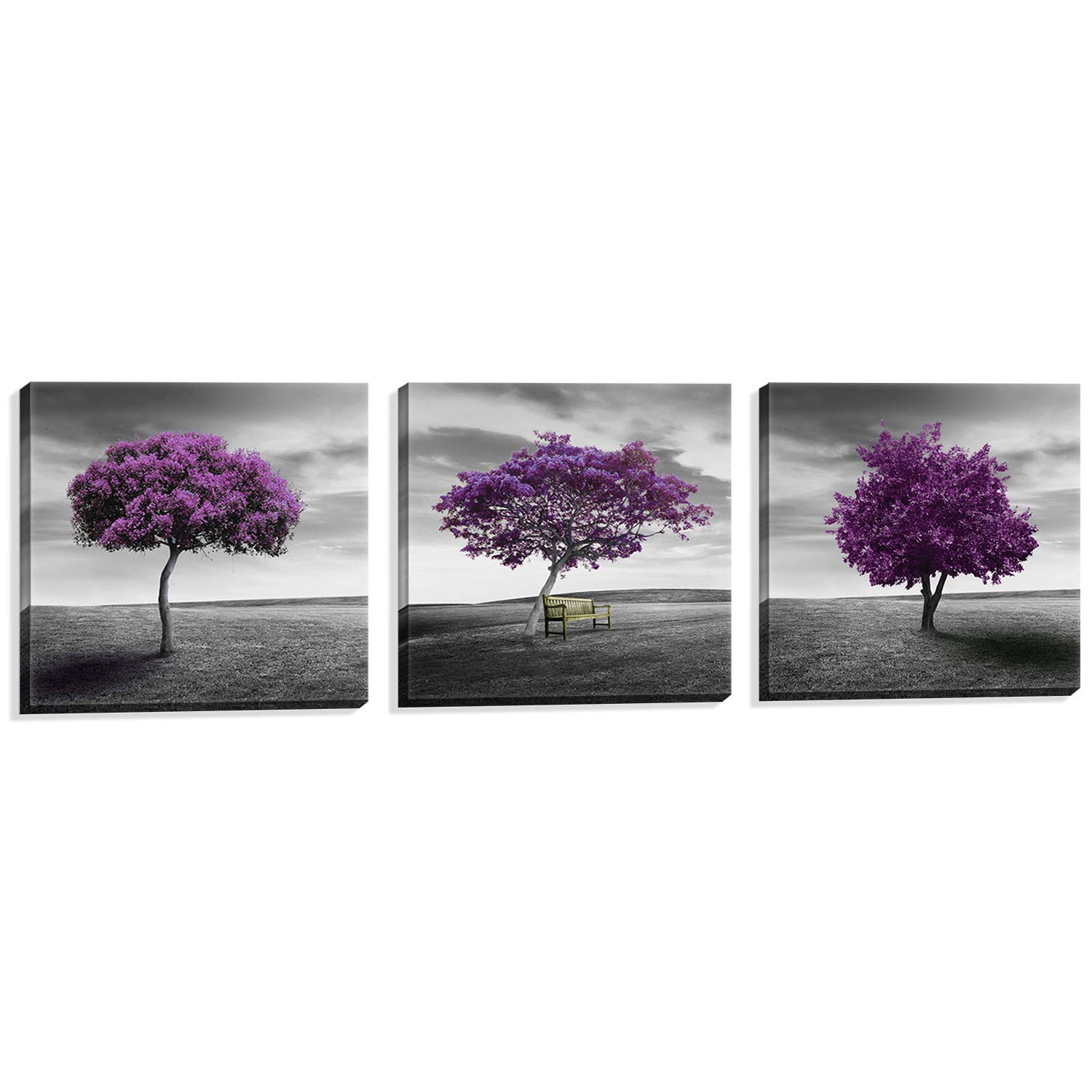 Nuolan Art - Canvas Print 3 Panels PURPLE TREES Modern Landscape Framed Canvas Wall Art -P3L3030-003