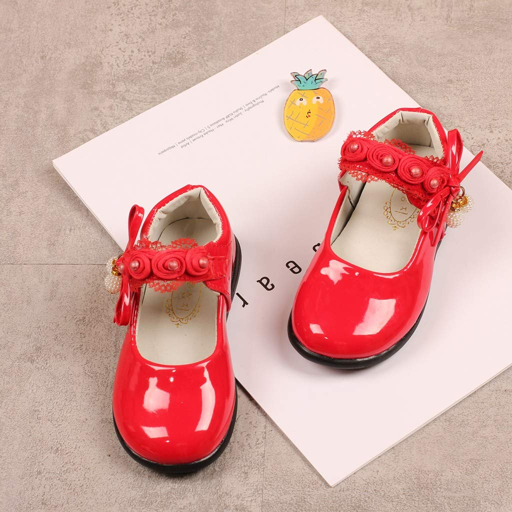 Teen Girls Ballet Flats Mary Jane School Shoes for 4-12 Years Old Child Pearl Lace Flower Princess Dress Shoes