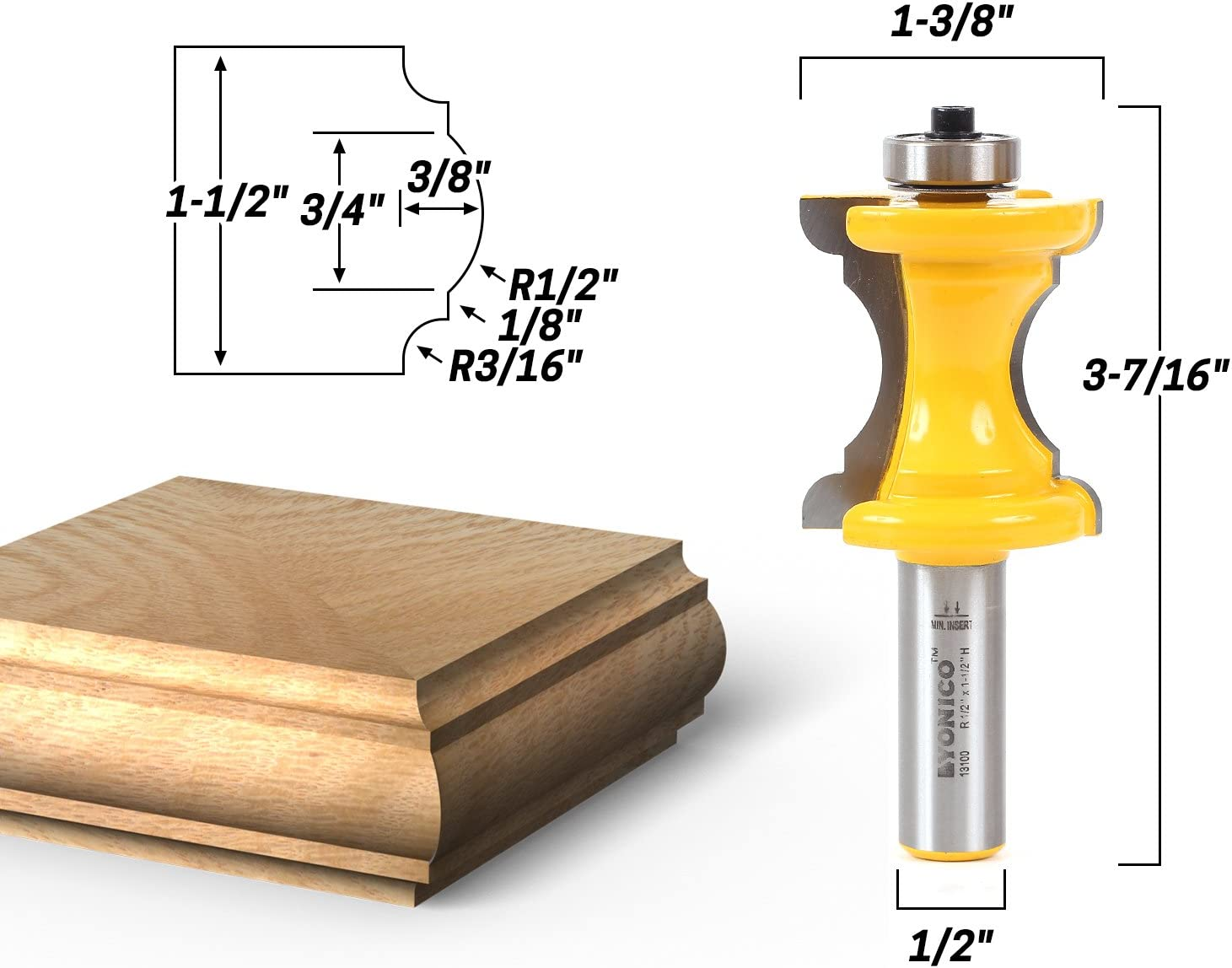 Yonico 13101 1-3//16-Inch Bullnose /& Cove Bullnose and Cove Furniture Trim /& Molding Router Bit 1//2-Inch Shank