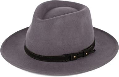 Wool Fedora Hat with Leather Belt Waterproof /& Crushable Handmade in Italy