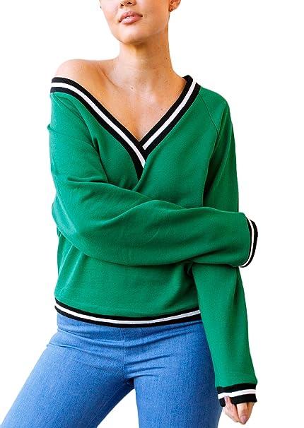 Mujer Sudaderas Deportivas Anchas Invierno Otoño Sudadera Elegantes Verde Basicas Manga Larga V Cuello Sweatshirts Juveniles Hipster Casual Niña Pullover ...