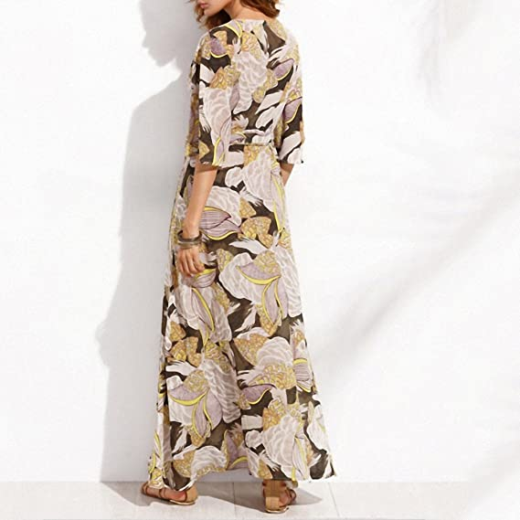 Floral Printed Maxi Dress Women Loose Wrap Tie Waist Casual Summer Dresses Long Ladies Butterfly Vestidos Robe Female at Amazon Womens Clothing store: