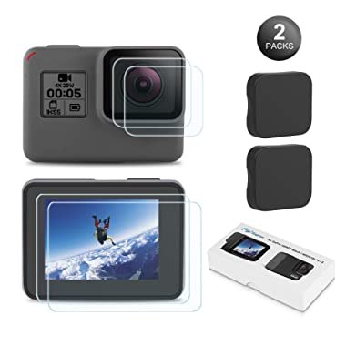 Kupton Screen Protector for GoPro Hero 7 (Black Only)/ 6/5/ 2018, Upgraded Tempered Glass Screen Protector Film+Tempered Glass Lens Film+Lens Cover Accessories for Go Pro Hero7 Hero6 Hero5-2 Packs