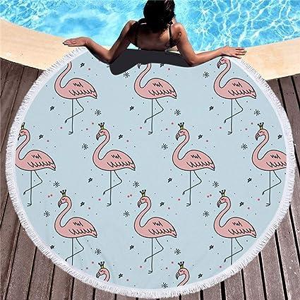 Qinddo Juego de cobertor de Playa de Flamenco de Playa con Forma de Toalla de Playa