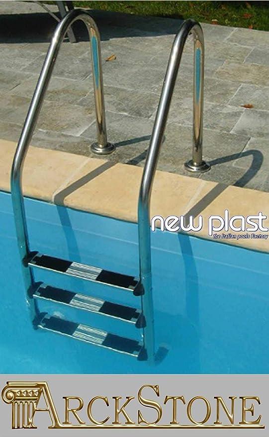 Newplast – Escalera Sky acero inoxidable 3 peldaños piscinas interrate technypools: Amazon.es: Jardín