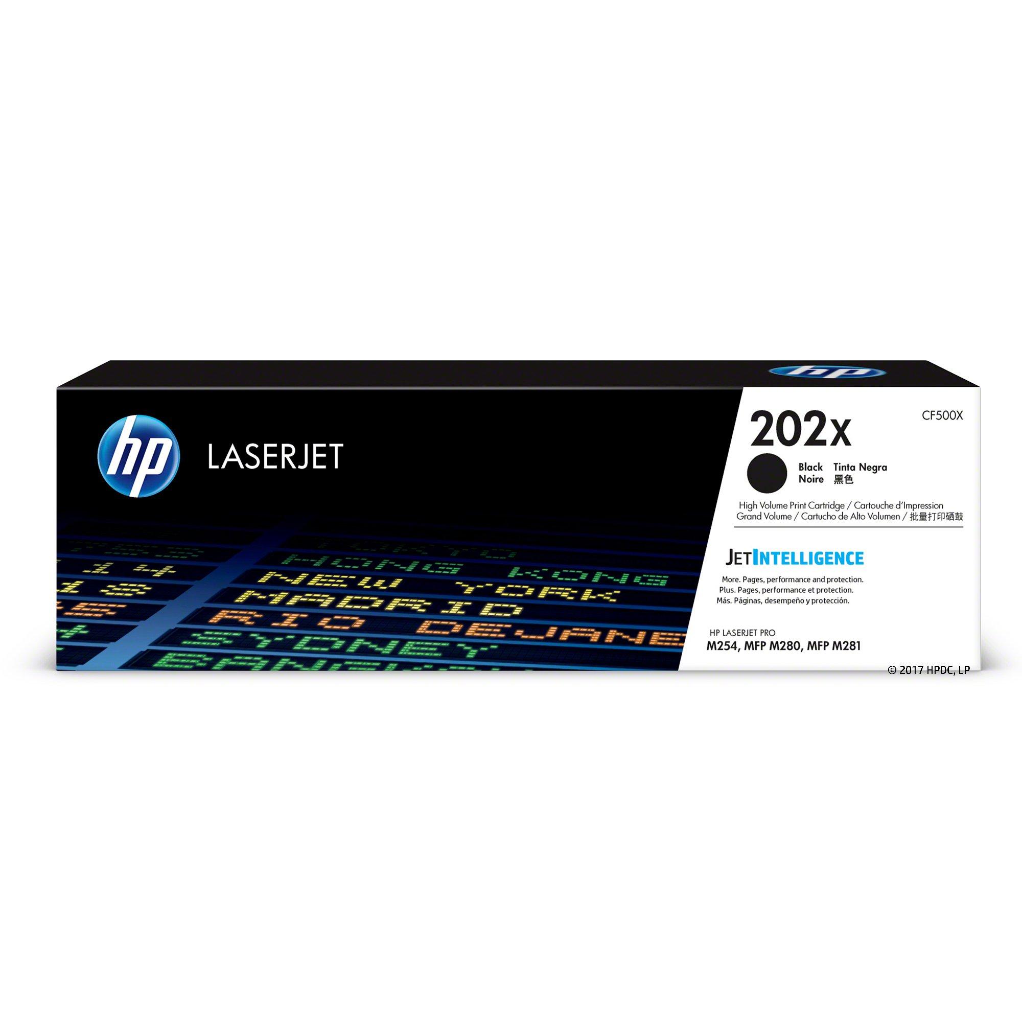 HP 202X (CF500X) Black High Yield Original Toner Cartridge for HP Laserjet Pro M254 M281cdw M281dw