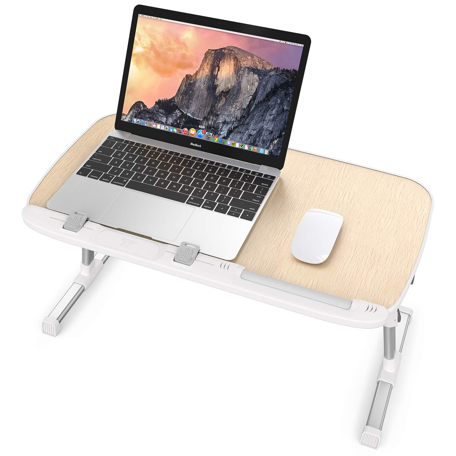 Laptop Desk for Bed, TaoTronics Lap Desks Bed Trays for Eating and Laptops Stand Lap Table, Adjustable Computer Tray for Bed, Foldable Bed Desk for Laptop and Writing in Sofa and Couch Wood by TaoTronics