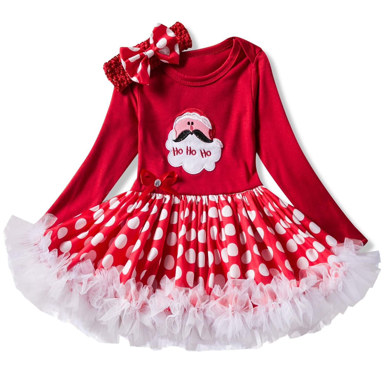 2pcs Vestido de Navidad Niña Disfraz Calcetín de Navidad Onesies Tutú Neonatal Ropa Manga Larga Princesa Vestidos +Tocado de arco/0-6Months