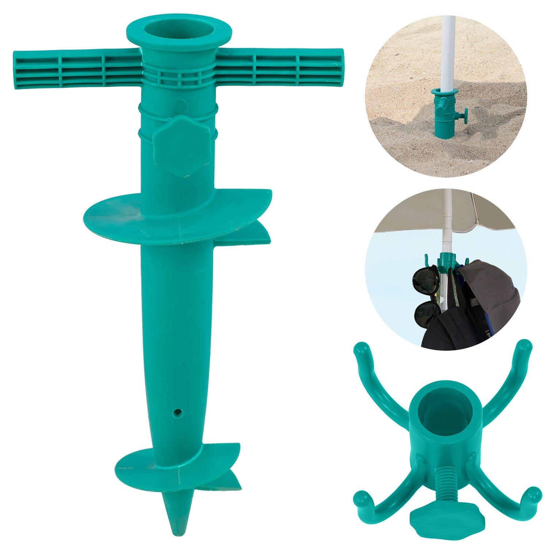 #WEJOY Beach Umbrella Sand Anchor and Hanging Hook Set, Green