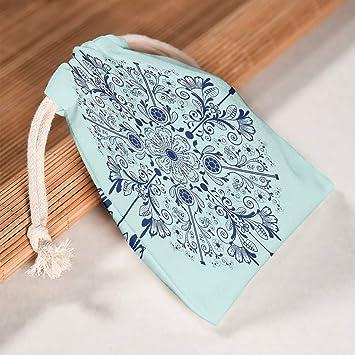 Lind88 - Bolsa de Lona para Guardar Mandala (6 Unidades), Color Azul, Tela, Blanco, 12 * 18cm: Amazon.es: Equipaje
