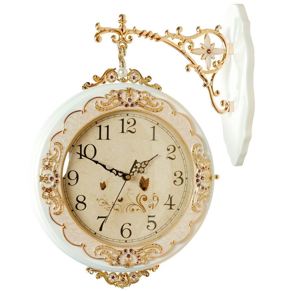Hense Clocks(ハンセ)両面時計 掛け時計 アンティーク風 アナログ HDS21-01 白い B01EA398YQ 白いL 白いL