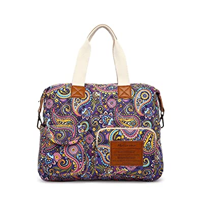 eaa28d163e Malirona Canvas Shoulder Bag Travel Handbag Women Top Handle Satchel Crossbody  Purse Floral Design (Purple