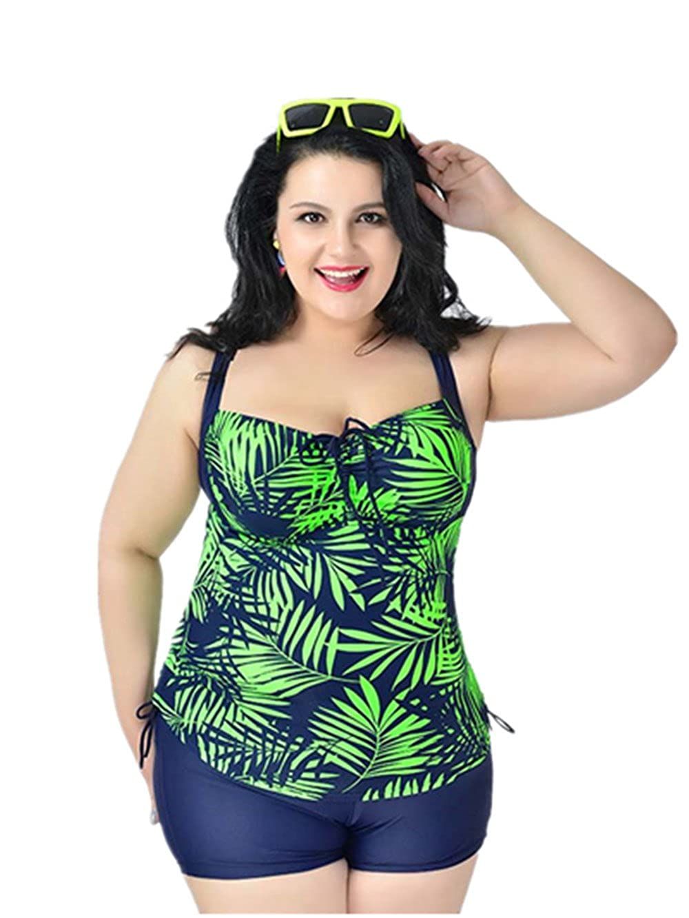 FOLWEP Women's Plus Size Bathing Suit Two Piece Tankinis Swimsuit