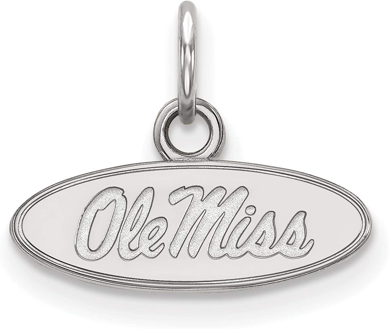 14k White Gold University of Mississippi Rebels School Name Oval Pendant 7x16mm
