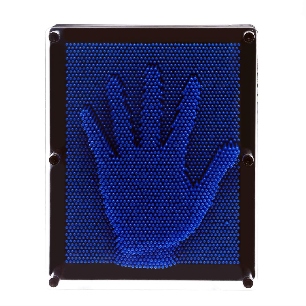 E-FirstFeeling 3D Pin Art Sculpture Extra Large 10'' X 8'' Pin Impression Hand Mold Board Toy Gift - Blue by E-FirstFeeling (Image #3)