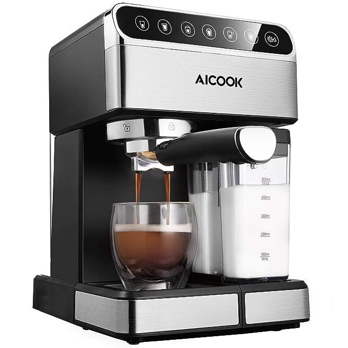 Aicook cafetera espresso, 15 bares presión, depósito agua extraíble 1,5l, panel lcd, sistema cappuccino, dispensador de café ajustable, limpieza ...