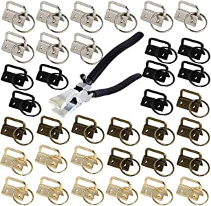 EWONICE Glass Running Pliers and 40 Pcs 1 Inch Fob Chain Wristlet Hardware with Key Ring Fob with Pliers (Silver, Gold, Bronze and Black)